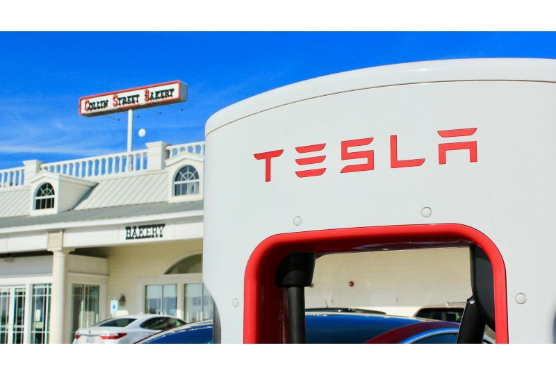 Close-up Tesla Charging Station Collin Street Bakery Corsicana Texas Preview