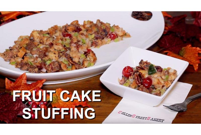 Deluxe Fruit Cake Stuffing Served in White Bowl preview