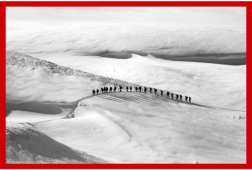 Fruitcake in Antarctica - Hikers Crossing Snow Hills