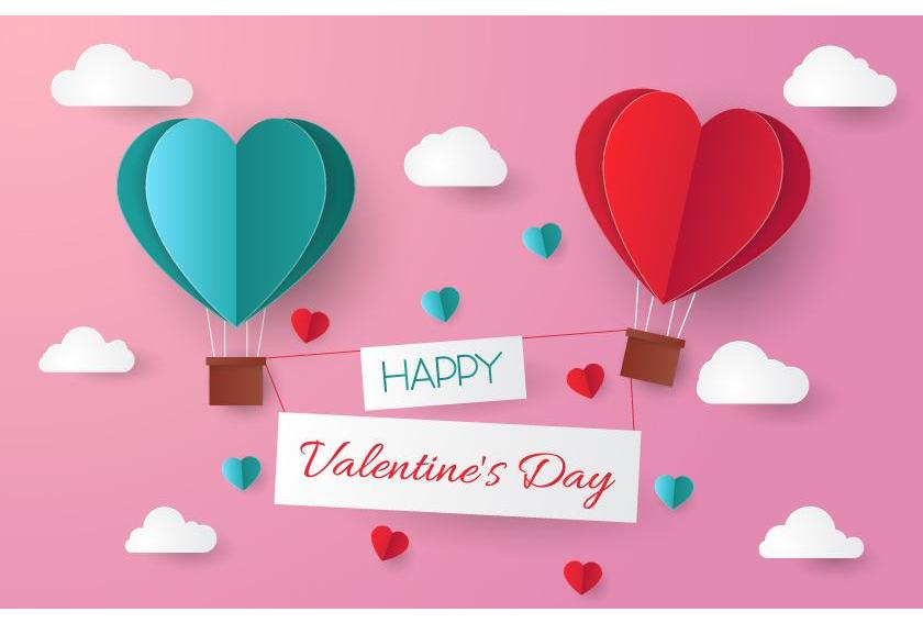 Happy Valentine's Day Paper Heart Air Balloons