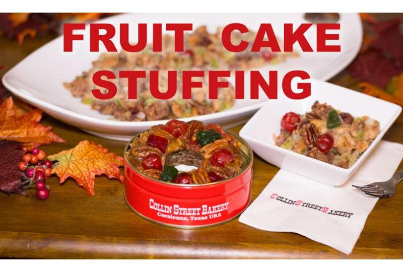 how to make stuffing with fruitcake collin street bakery blog preview