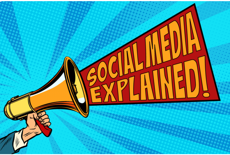 Social Media Explained Comic Style Megaphone Graphic