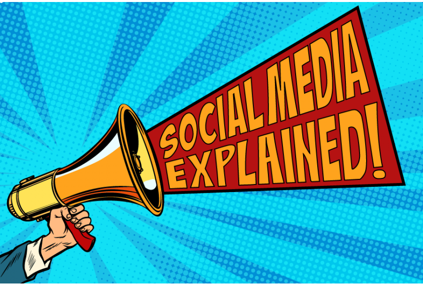 Social Media Explained Comic Style Megaphone Graphic