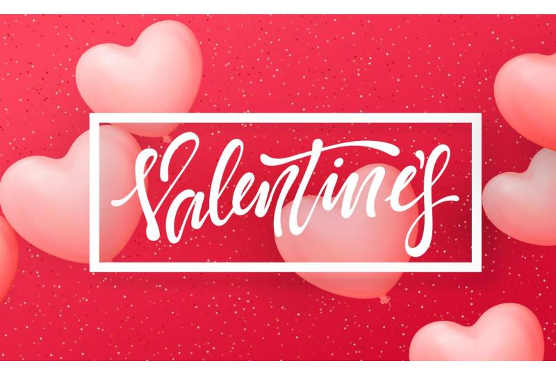 red pink happy valentines day text banner heart balloons Preview