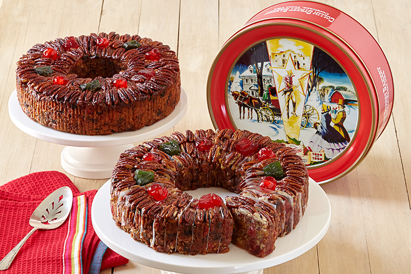 Sliced DeLuxe® Fruitcake Display with Red Tin